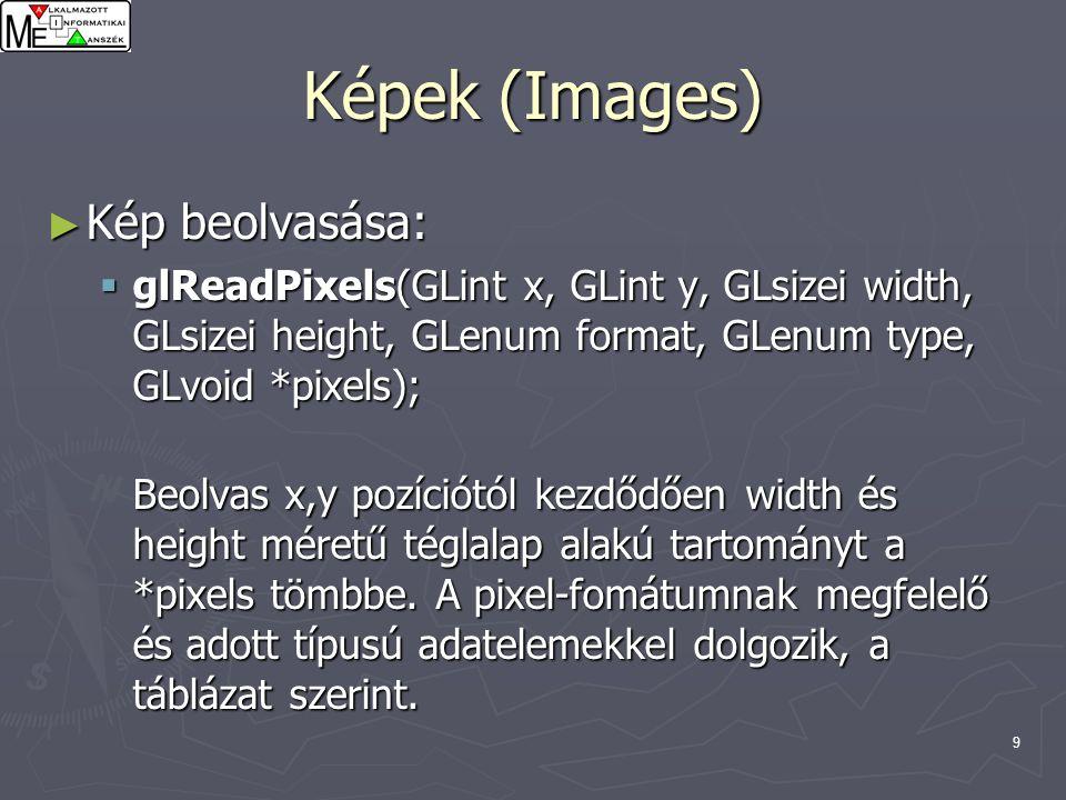 9 Képek (Images) ► Kép beolvasása:  glReadPixels(GLint x, GLint y, GLsizei width, GLsizei height, GLenum format, GLenum type, GLvoid *pixels); Beolvas x,y pozíciótól kezdődően width és height méretű téglalap alakú tartományt a *pixels tömbbe.