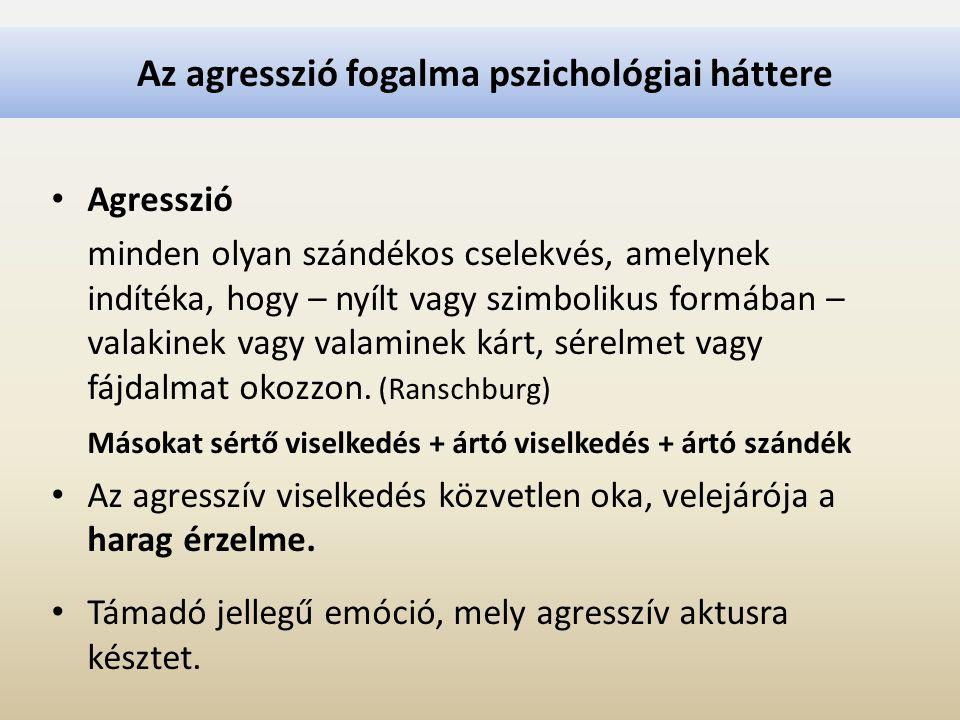 Az agresszió fogalma pszichológiai háttere Agresszió minden olyan szándékos cselekvés, amelynek indítéka, hogy – nyílt vagy szimbolikus formában – val