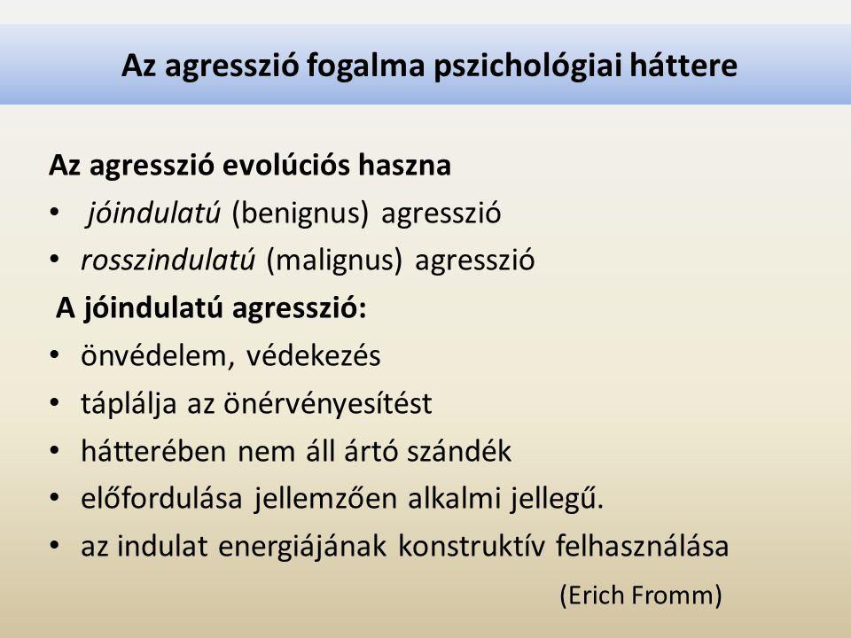 Az agresszió fogalma pszichológiai háttere Az agresszió evolúciós haszna jóindulatú (benignus) agresszió rosszindulatú (malignus) agresszió A jóindula