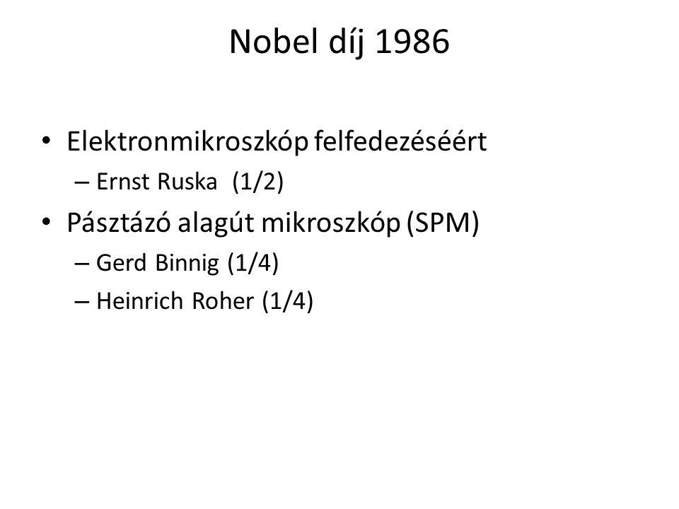 Nobel díj 1986 Elektronmikroszkóp felfedezéséért – Ernst Ruska (1/2) Pásztázó alagút mikroszkóp (SPM) – Gerd Binnig (1/4) – Heinrich Roher (1/4)