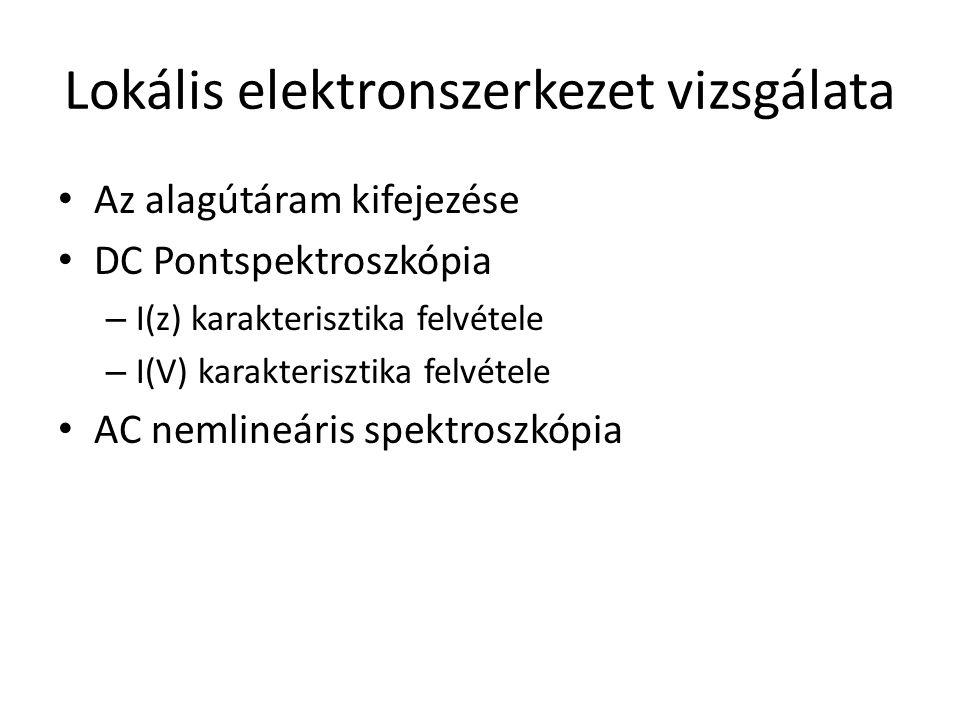 Lokális elektronszerkezet vizsgálata Az alagútáram kifejezése DC Pontspektroszkópia – I(z) karakterisztika felvétele – I(V) karakterisztika felvétele