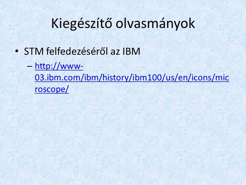 Kiegészítő olvasmányok STM felfedezéséről az IBM – http://www- 03.ibm.com/ibm/history/ibm100/us/en/icons/mic roscope/ http://www- 03.ibm.com/ibm/history/ibm100/us/en/icons/mic roscope/