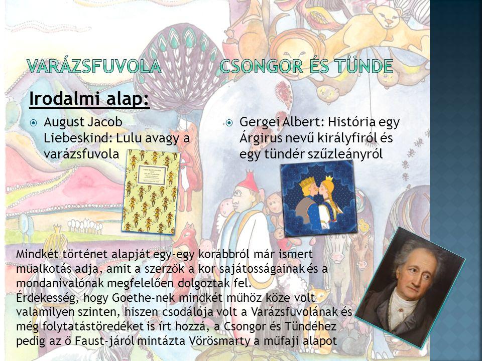 Irodalmi alap:  August Jacob Liebeskind: Lulu avagy a varázsfuvola  Gergei Albert: História egy Árgirus nevű királyfiról és egy tündér szűzleányról Mindkét történet alapját egy-egy korábbról már ismert műalkotás adja, amit a szerzők a kor sajátosságainak és a mondanivalónak megfelelően dolgoztak fel.
