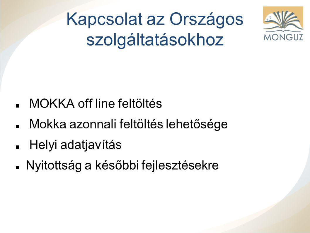 Kapcsolat az Országos szolgáltatásokhoz MOKKA off line feltöltés Mokka azonnali feltöltés lehetősége Helyi adatjavítás Nyitottság a későbbi fejlesztésekre