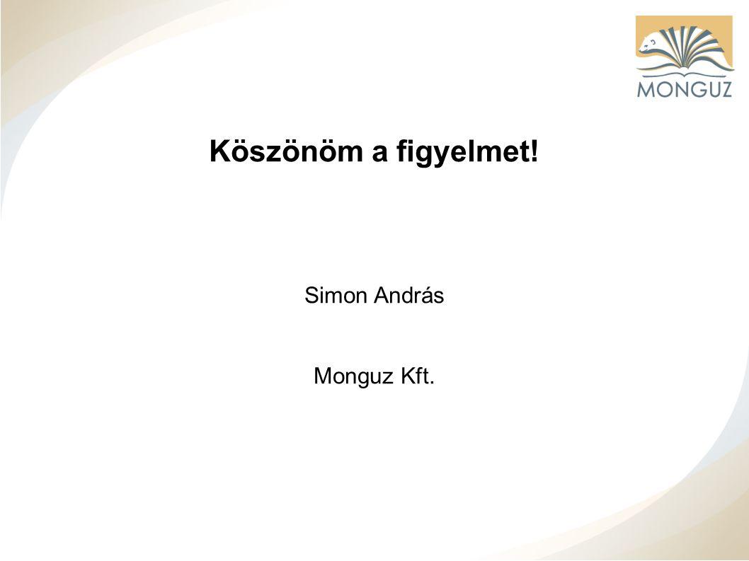 Köszönöm a figyelmet! Simon András Monguz Kft.