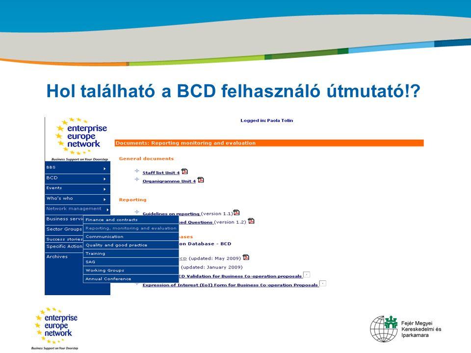 Title of the presentation | Date |‹#› Hol található a BCD felhasználó útmutató!?
