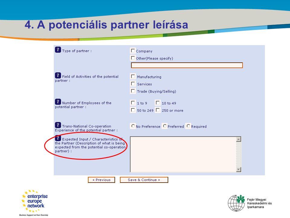 Title of the presentation | Date |‹#› 4. A potenciális partner leírása