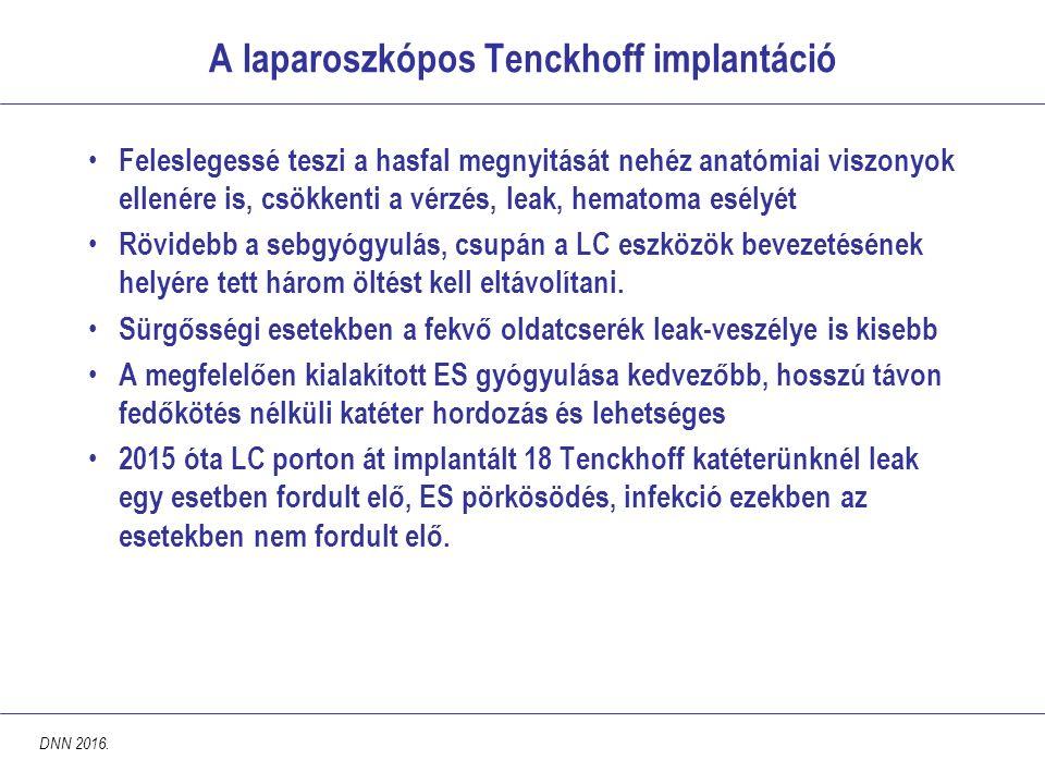 A laparoszkópos Tenckhoff implantáció Feleslegessé teszi a hasfal megnyitását nehéz anatómiai viszonyok ellenére is, csökkenti a vérzés, leak, hematoma esélyét Rövidebb a sebgyógyulás, csupán a LC eszközök bevezetésének helyére tett három öltést kell eltávolítani.