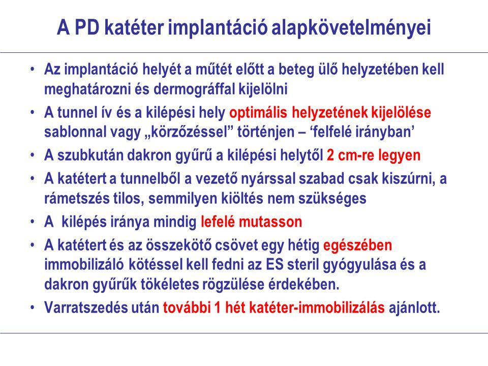 A PD katéter implantáció alapkövetelményei Az implantáció helyét a műtét előtt a beteg ülő helyzetében kell meghatározni és dermográffal kijelölni A t