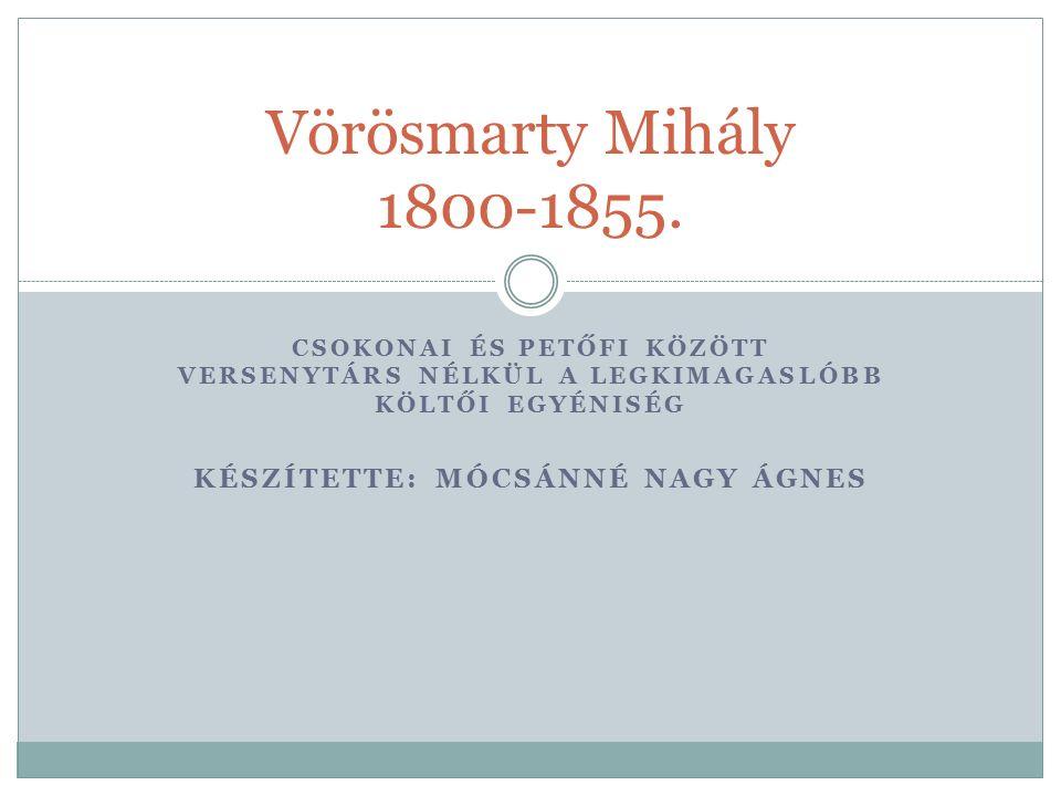 CSOKONAI ÉS PETŐFI KÖZÖTT VERSENYTÁRS NÉLKÜL A LEGKIMAGASLÓBB KÖLTŐI EGYÉNISÉG KÉSZÍTETTE: MÓCSÁNNÉ NAGY ÁGNES Vörösmarty Mihály 1800-1855.