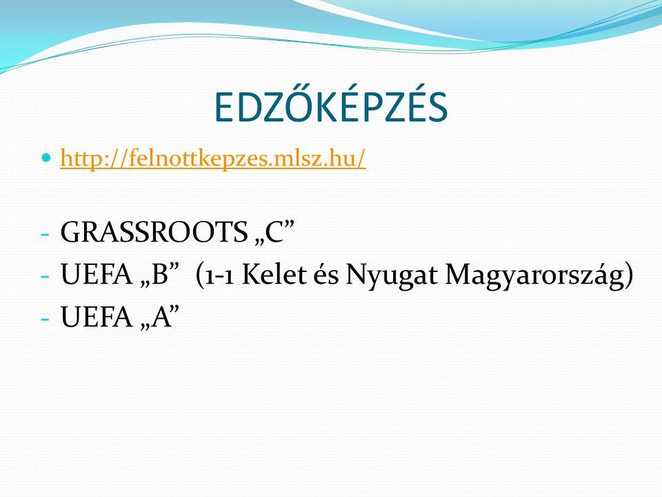 """EDZŐKÉPZÉS http://felnottkepzes.mlsz.hu/ - GRASSROOTS """"C"""" - UEFA """"B"""" (1-1 Kelet és Nyugat Magyarország) - UEFA """"A"""""""