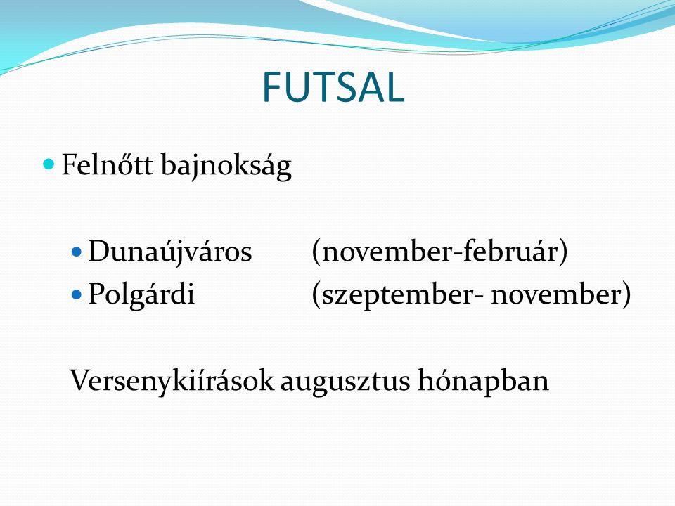 FUTSAL Felnőtt bajnokság Dunaújváros(november-február) Polgárdi(szeptember- november) Versenykiírások augusztus hónapban