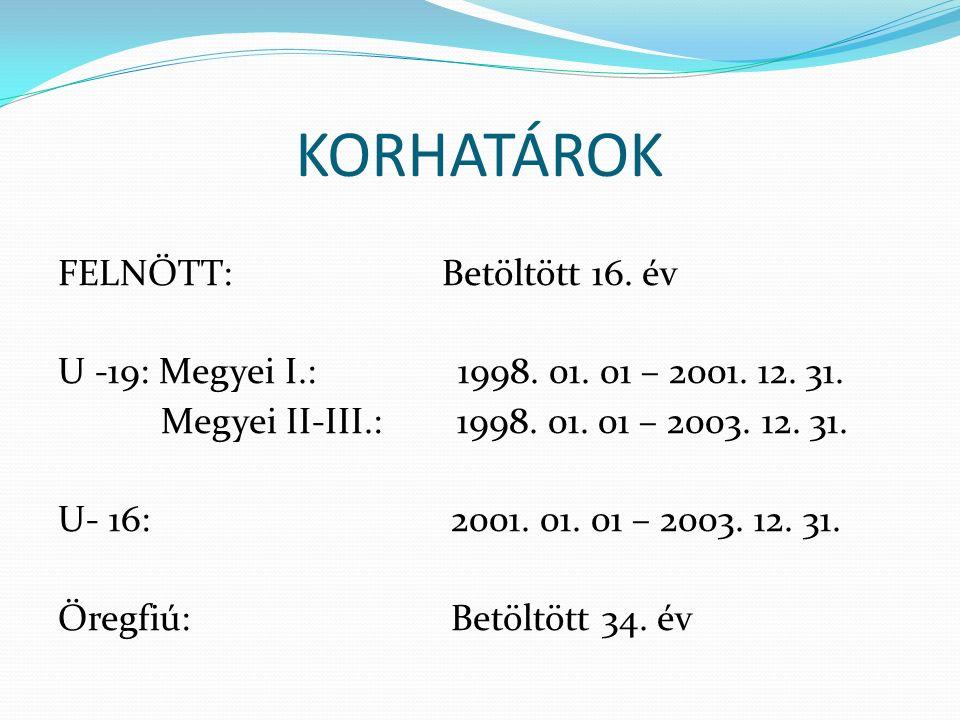 KORHATÁROK FELNŐTT: Betöltött 16. év U -19: Megyei I.: 1998. 01. 01 – 2001. 12. 31. Megyei II-III.: 1998. 01. 01 – 2003. 12. 31. U- 16: 2001. 01. 01 –