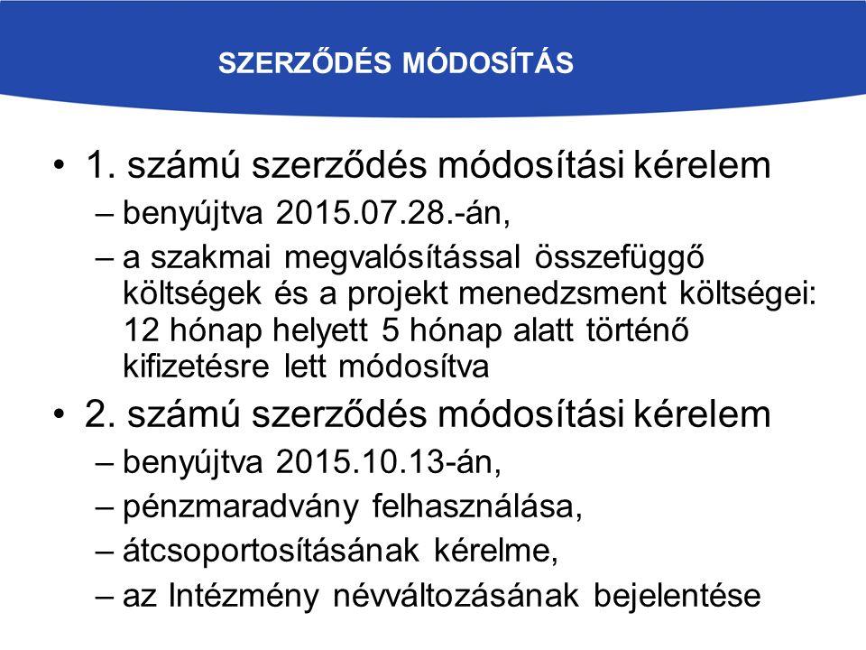 SZERZŐDÉS MÓDOSÍTÁS 1. számú szerződés módosítási kérelem –benyújtva 2015.07.28.-án, –a szakmai megvalósítással összefüggő költségek és a projekt mene
