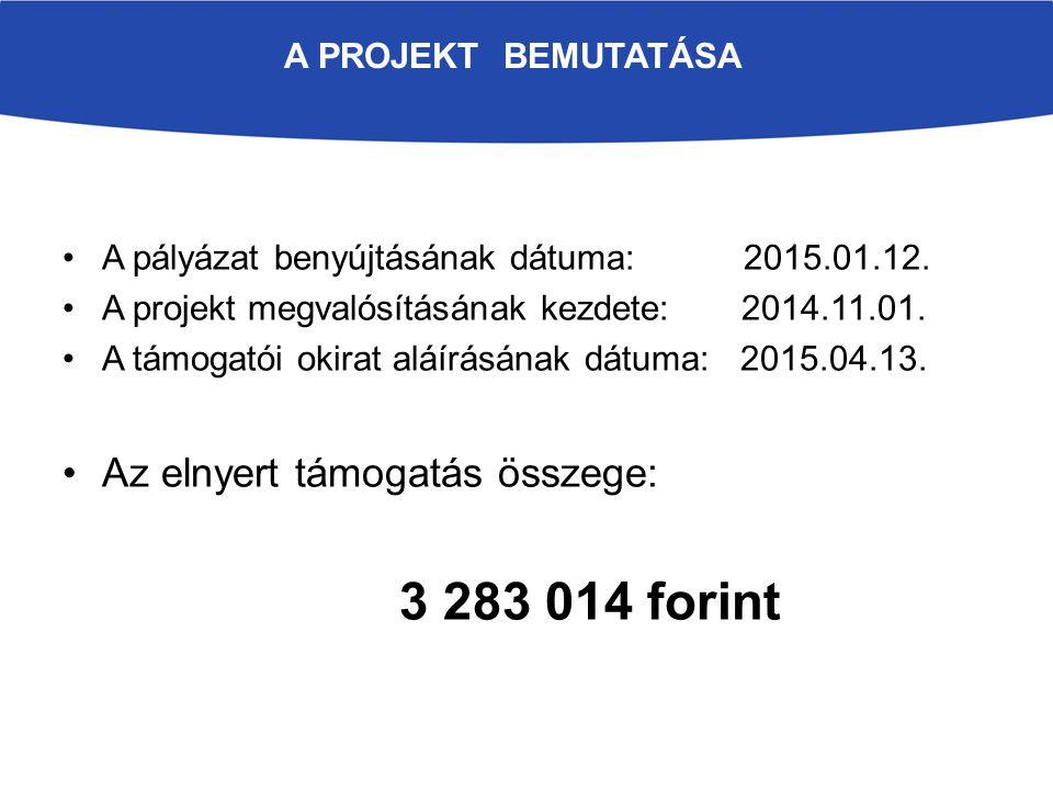 A pályázat benyújtásának dátuma: 2015.01.12. A projekt megvalósításának kezdete: 2014.11.01. A támogatói okirat aláírásának dátuma: 2015.04.13. Az eln