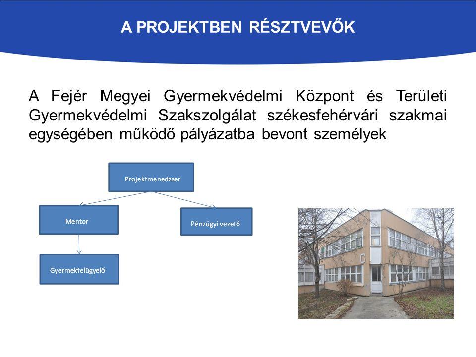 A PROJEKTBEN RÉSZTVEVŐK A Fejér Megyei Gyermekvédelmi Központ és Területi Gyermekvédelmi Szakszolgálat székesfehérvári szakmai egységében működő pályá