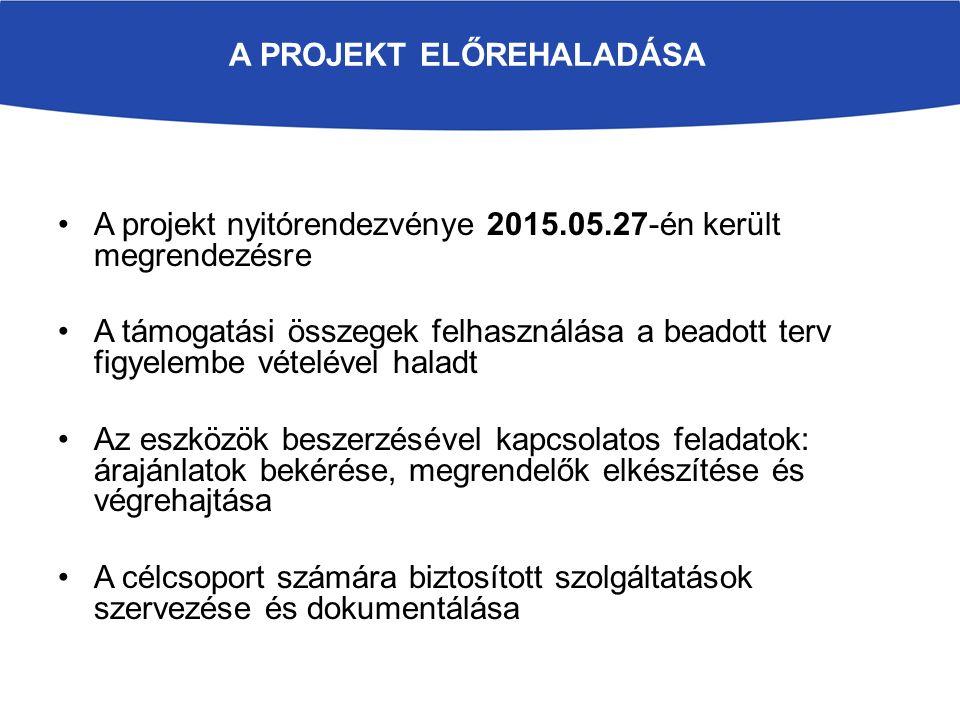 A PROJEKT ELŐREHALADÁSA A projekt nyitórendezvénye 2015.05.27-én került megrendezésre A támogatási összegek felhasználása a beadott terv figyelembe vé