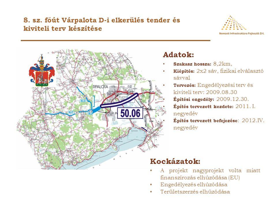 Adatok: Szakasz hossza: 8,2km, Kiépítés: 2x2 sáv, fizikai elválasztó sávval Tervezés: Engedélyezési terv és kiviteli terv: 2009.08.30 Építési engedély: 2009.12.30.