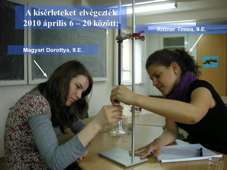 A kísérleteket elvégezték 2010 április 6 – 20 között: Magyari Dorottya, 9.E. Rittner Timea, 9.E.
