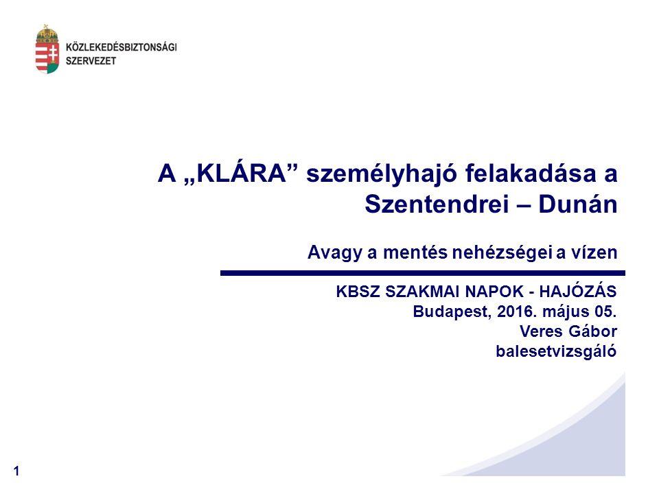 1 KBSZ SZAKMAI NAPOK - HAJÓZÁS Budapest, 2016. május 05.