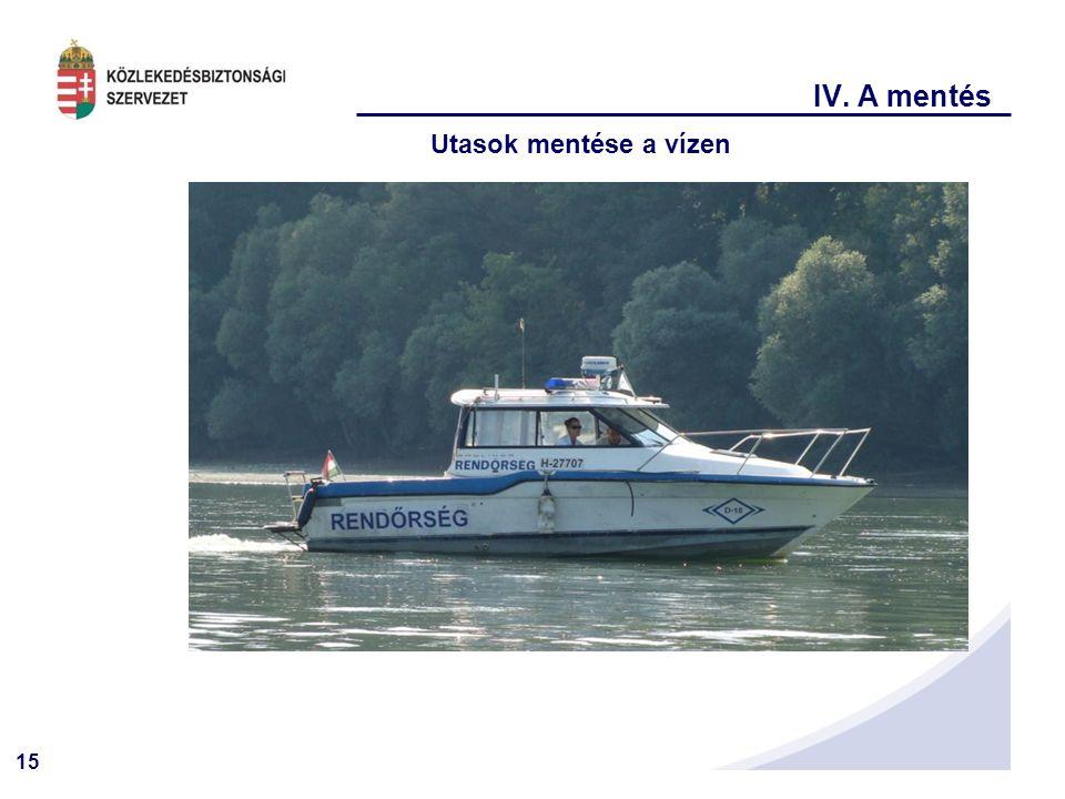 15 IV. A mentés Utasok mentése a vízen