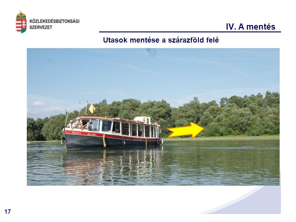 17 IV. A mentés Utasok mentése a szárazföld felé