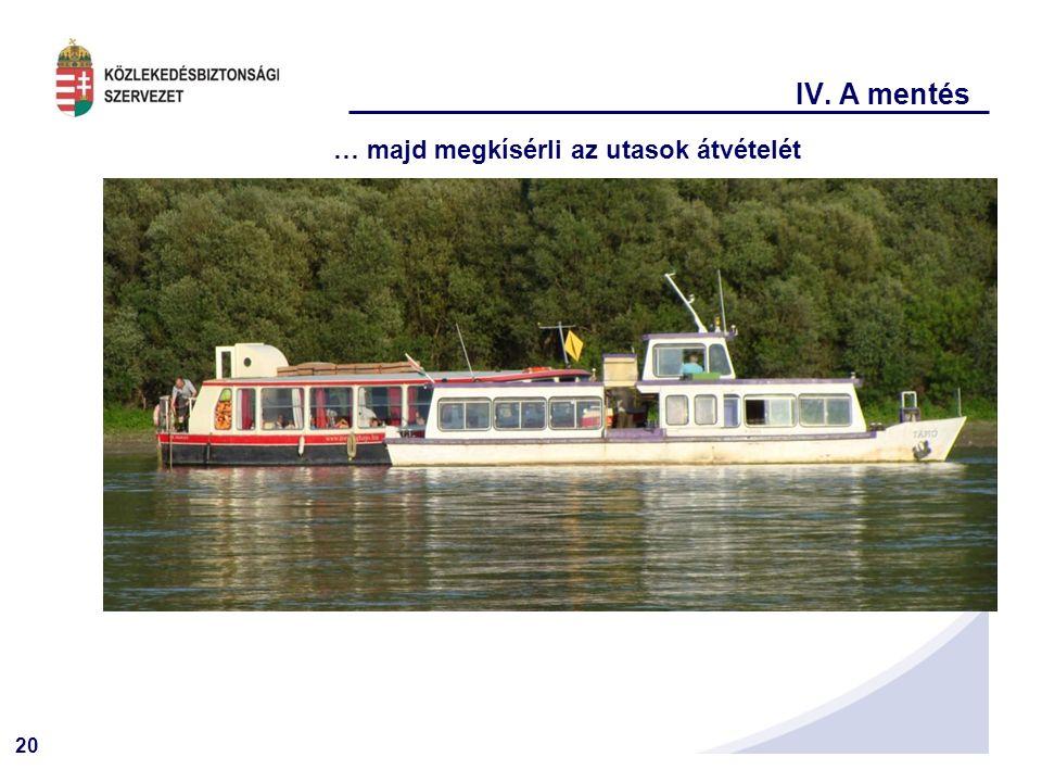 20 IV. A mentés … majd megkísérli az utasok átvételét