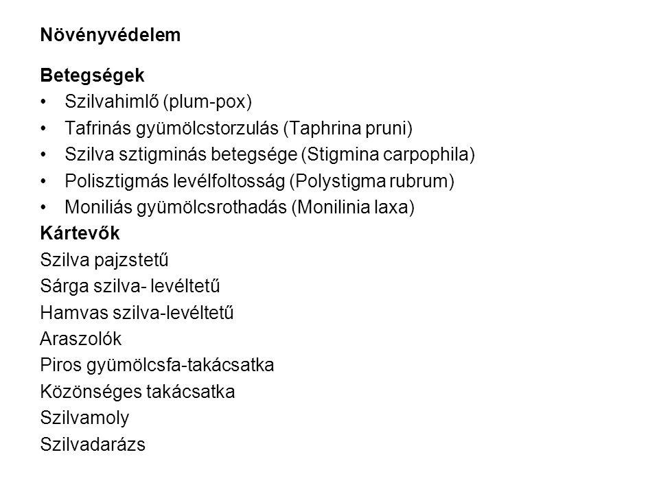 Növényvédelem Betegségek Szilvahimlő (plum-pox) Tafrinás gyümölcstorzulás (Taphrina pruni) Szilva sztigminás betegsége (Stigmina carpophila) Polisztigmás levélfoltosság (Polystigma rubrum) Moniliás gyümölcsrothadás (Monilinia laxa) Kártevők Szilva pajzstetű Sárga szilva- levéltetű Hamvas szilva-levéltetű Araszolók Piros gyümölcsfa-takácsatka Közönséges takácsatka Szilvamoly Szilvadarázs