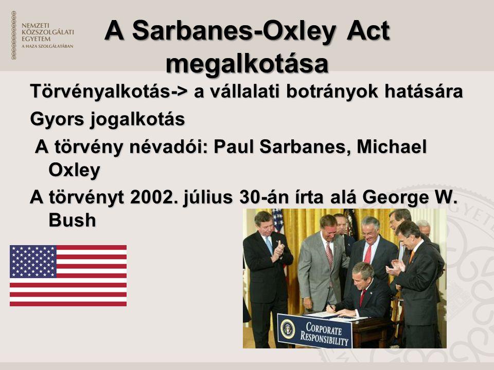 A Sarbanes-Oxley Act megalkotása Törvényalkotás-> a vállalati botrányok hatására Gyors jogalkotás A törvény névadói: Paul Sarbanes, Michael Oxley A törvény névadói: Paul Sarbanes, Michael Oxley A törvényt 2002.