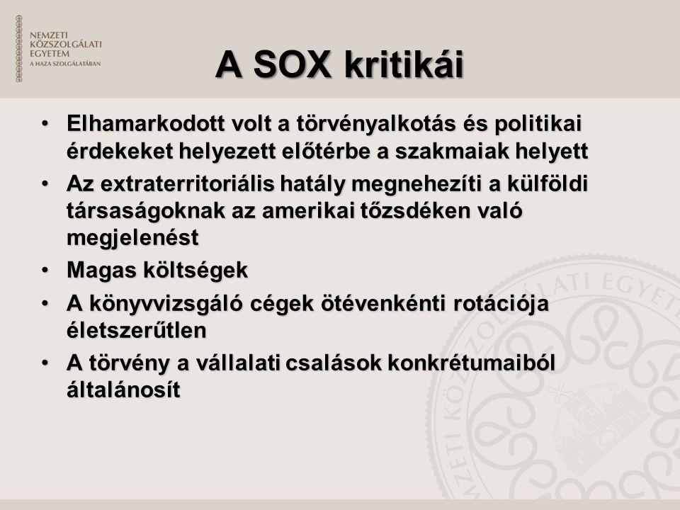 A SOX kritikái Elhamarkodott volt a törvényalkotás és politikai érdekeket helyezett előtérbe a szakmaiak helyettElhamarkodott volt a törvényalkotás és politikai érdekeket helyezett előtérbe a szakmaiak helyett Az extraterritoriális hatály megnehezíti a külföldi társaságoknak az amerikai tőzsdéken való megjelenéstAz extraterritoriális hatály megnehezíti a külföldi társaságoknak az amerikai tőzsdéken való megjelenést Magas költségekMagas költségek A könyvvizsgáló cégek ötévenkénti rotációja életszerűtlenA könyvvizsgáló cégek ötévenkénti rotációja életszerűtlen A törvény a vállalati csalások konkrétumaiból általánosítA törvény a vállalati csalások konkrétumaiból általánosít