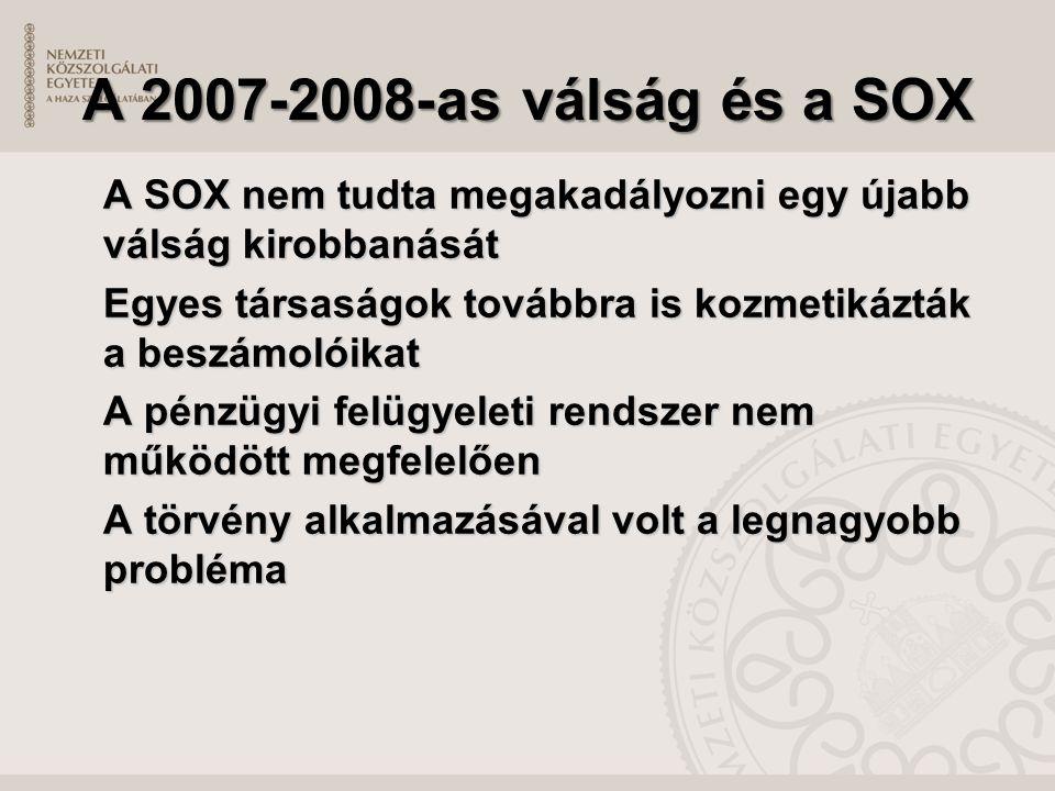 A 2007-2008-as válság és a SOX A SOX nem tudta megakadályozni egy újabb válság kirobbanását Egyes társaságok továbbra is kozmetikázták a beszámolóikat A pénzügyi felügyeleti rendszer nem működött megfelelően A törvény alkalmazásával volt a legnagyobb probléma