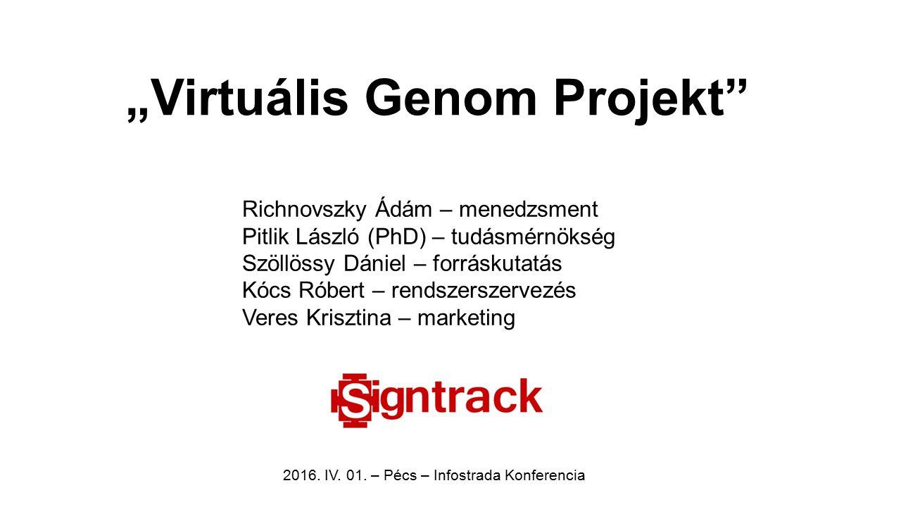 """""""Virtuális Genom Projekt"""" Richnovszky Ádám – menedzsment Pitlik László (PhD) – tudásmérnökség Szöllössy Dániel – forráskutatás Kócs Róbert – rendszers"""