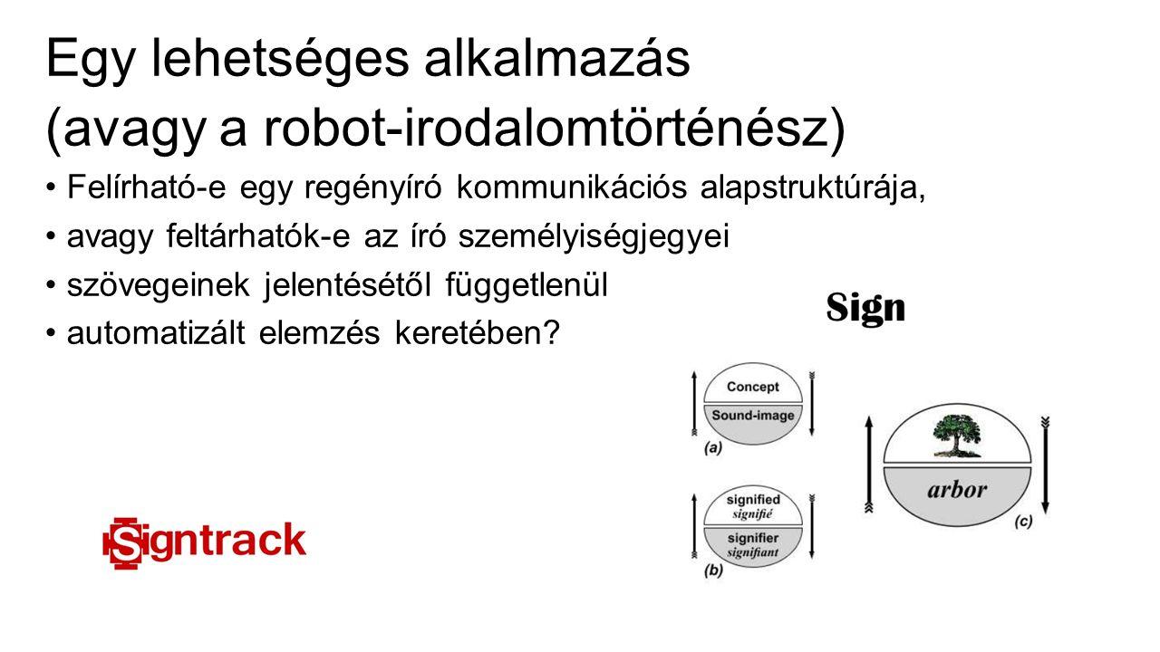 Egy lehetséges alkalmazás (avagy a robot-irodalomtörténész) Felírható-e egy regényíró kommunikációs alapstruktúrája, avagy feltárhatók-e az író személyiségjegyei szövegeinek jelentésétől függetlenül automatizált elemzés keretében