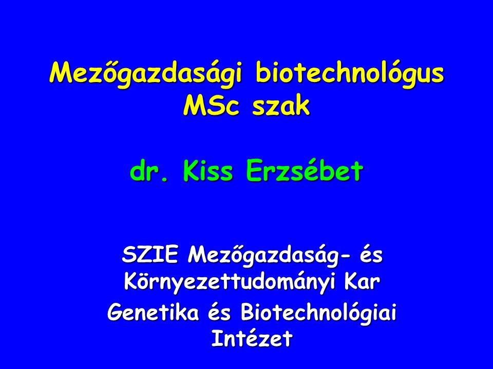 Mezőgazdasági biotechnológus MSc szak dr. Kiss Erzsébet SZIE Mezőgazdaság- és Környezettudományi Kar Genetika és Biotechnológiai Intézet
