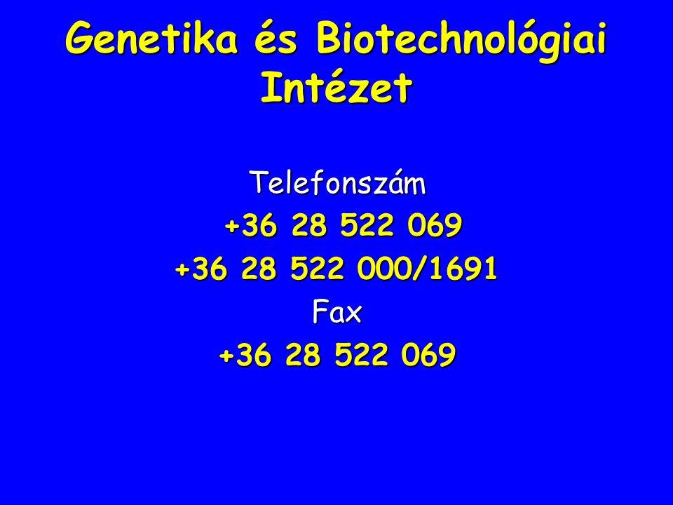 Genetika és Biotechnológiai Intézet Telefonszám +36 28 522 069 +36 28 522 069 +36 28 522 000/1691 Fax +36 28 522 069