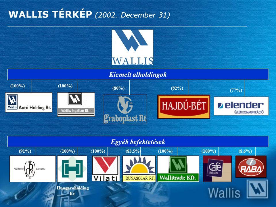(100%) (77%) (82%) Hungaroholding Rt. (91%) (80%) WALLIS TÉRKÉP (2002. December 31) (100%) (83,5%)(100%)(8,6%) Kiemelt alholdingok Egyéb befektetések