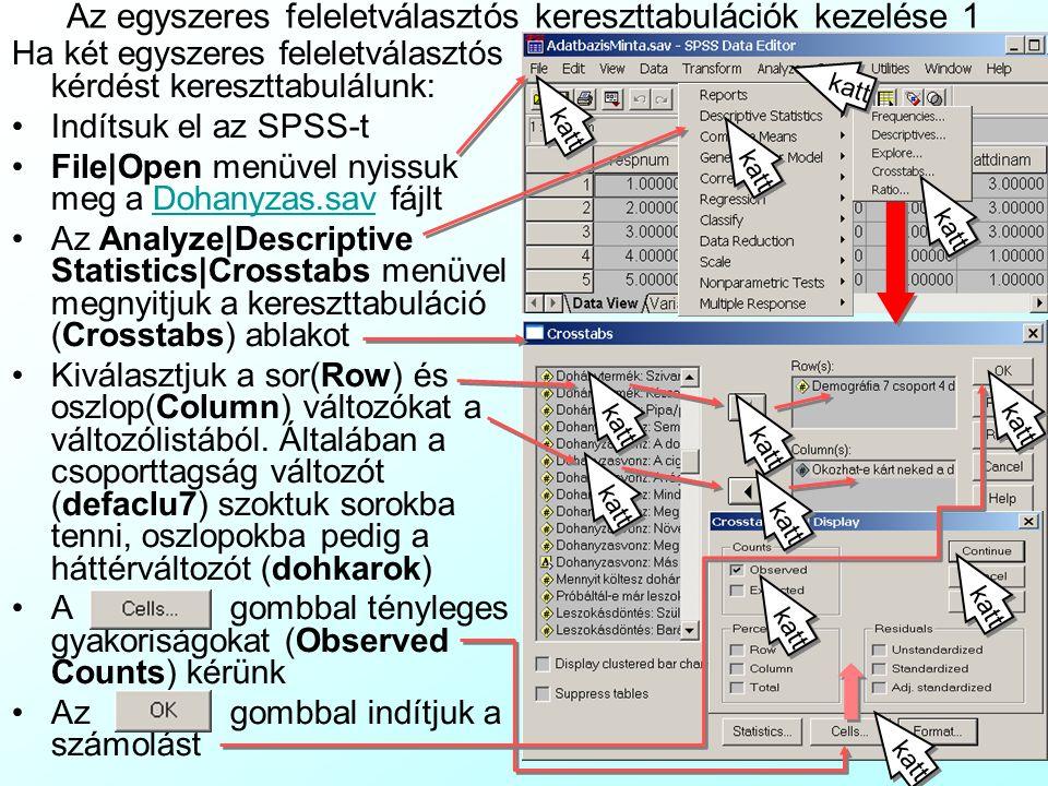 Változók kapcsolatának elemzése a KetUtasANOVA rendszerrel A KetUtasANOVA.xls fájl példát mutat rá, hogy SPSS-ből az eredményeket a zöld cellákba másolva gyorsan elvégezzük a csoporttagság változó és egyszeres feleletválasztós (lásd: EgyszeresFelelValaszt munkalap), illetve többszörös feleletválasztós (lásd: TobbszorosFelValaszt munkalap) kérdések kereszttabulálásával kapcsolatos teszteket, és a menükiválasztás alapján a gyakoriságok, várt gyakoriságok, reziduumok, relatív rezidumok térképen történő megjelenítését, valamint az egy- és kétutas ANOVA-kat:KetUtasANOVA.xls