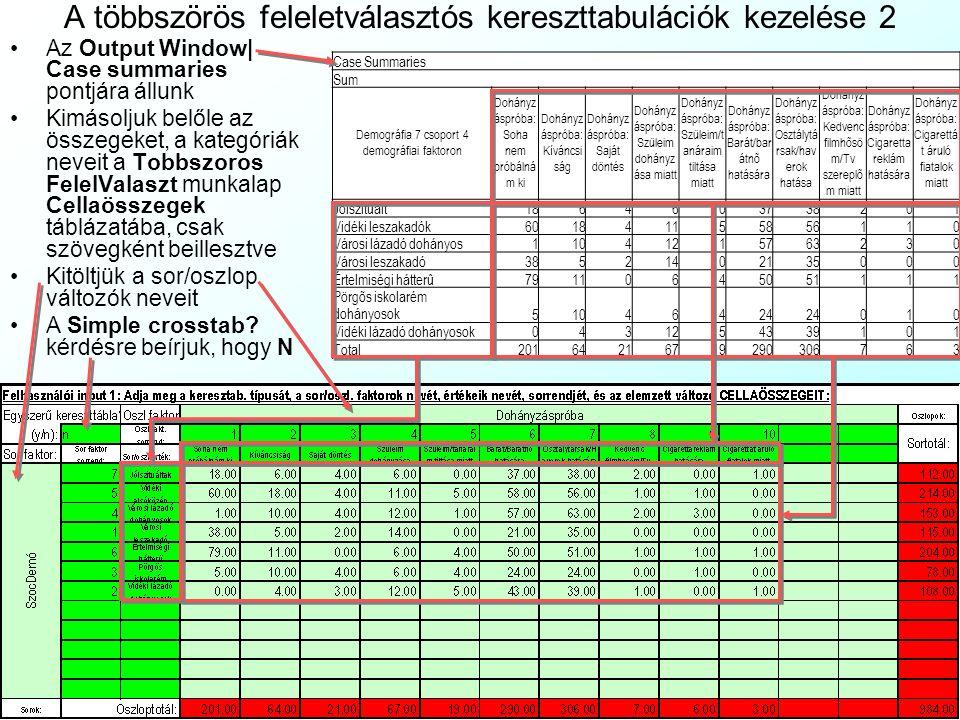 A többszörös feleletválasztós kereszttabulációk kezelése 1 Ha egy egyszeres felelet- választós kérdést kereszt- tabulálunk egy többszörös feleletválasztós kérdéssel: Az Analyze| Reports| Case summaries menüvel indítjuk a csoportosított adatok számítását (Summarize cases) A többszörös feleletválasztós kérdés bináris változóit (dohprob0..dohprob9) a ►gombra kattintva bevonjuk az elemzés változóinak (Variables) Csoportosító változónak (Grouping variable) a ►gombra kattintva kivá- lasztjuk a csoporttagságot leíró egysze- res feleletválasztós változót (defaclu7) Kikapcsoljuk az egyes esetek mutatását (Display Cases), mert csak összesítést kérünk A gombbal kinyitjuk a statisztikák számítását.