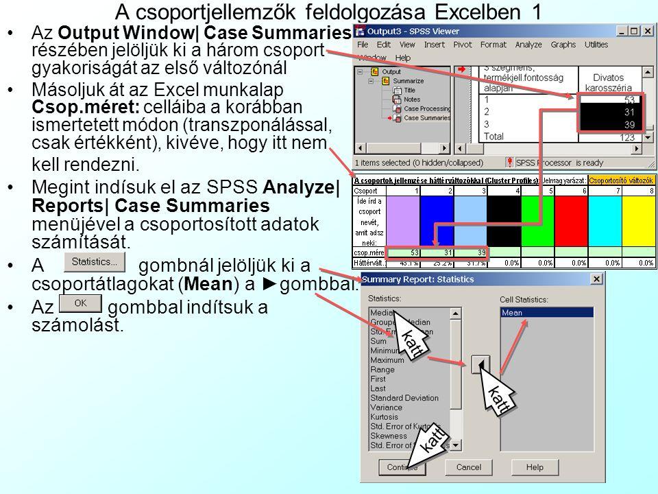 A csoportjellemzők feldolgozása Excelben 1 Az Output Window  Case Summaries részében jelöljük ki a három csoport gyakoriságát az első változónál Másoljuk át az Excel munkalap Csop.méret: celláiba a korábban ismertetett módon (transzponálással, csak értékként), kivéve, hogy itt nem kell rendezni.