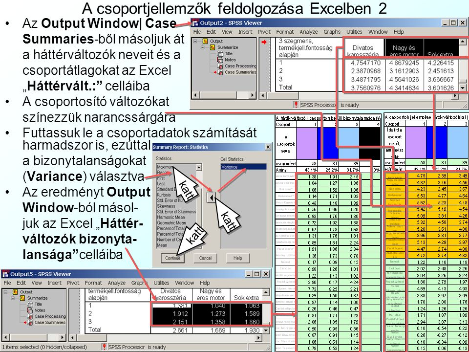 """A csoportjellemzők feldolgozása Excelben 2 Az Output Window  Case Summaries-ből másoljuk át a háttérváltozók neveit és a csoportátlagokat az Excel """"Háttérvált.: celláiba A csoportosító változókat színezzük narancssárgára Futtassuk le a csoportadatok számítását harmadszor is, ezúttal a bizonytalanságokat (Variance) választva Az eredményt Output Window-ból másol- juk az Excel """"Háttér- változók bizonyta- lansága celláiba katt"""