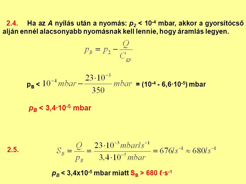2.4.Ha az A nyílás után a nyomás: p 2 < 10 -4 mbar, akkor a gyorsítócső alján ennél alacsonyabb nyomásnak kell lennie, hogy áramlás legyen.
