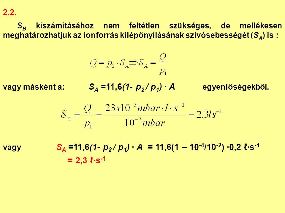 S B kiszámításához nem feltétlen szükséges, de mellékesen meghatározhatjuk az ionforrás kilépőnyílásának szívósebességét (S A ) is : vagy másként a: S A =11,6(1- p 2 / p 1 ) ∙ A egyenlőségekből.