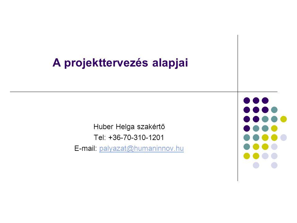 A projekttervezés alapjai Huber Helga szakértő Tel: +36-70-310-1201 E-mail: palyazat@humaninnov.hupalyazat@humaninnov.hu