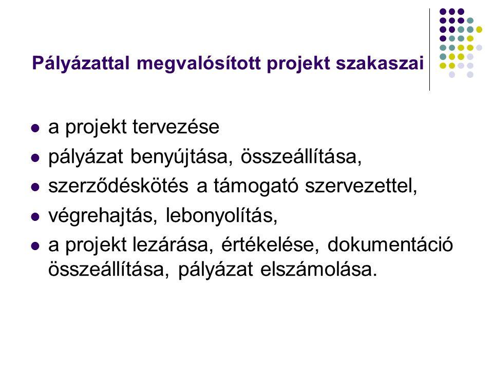 Pályázattal megvalósított projekt szakaszai a projekt tervezése pályázat benyújtása, összeállítása, szerződéskötés a támogató szervezettel, végrehajtás, lebonyolítás, a projekt lezárása, értékelése, dokumentáció összeállítása, pályázat elszámolása.