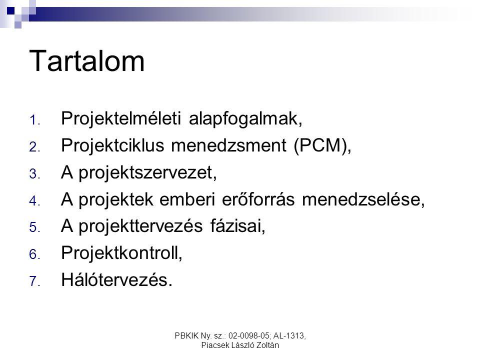 PBKIK Ny. sz.: 02-0098-05; AL-1313, Piacsek László Zoltán Tartalom 1.