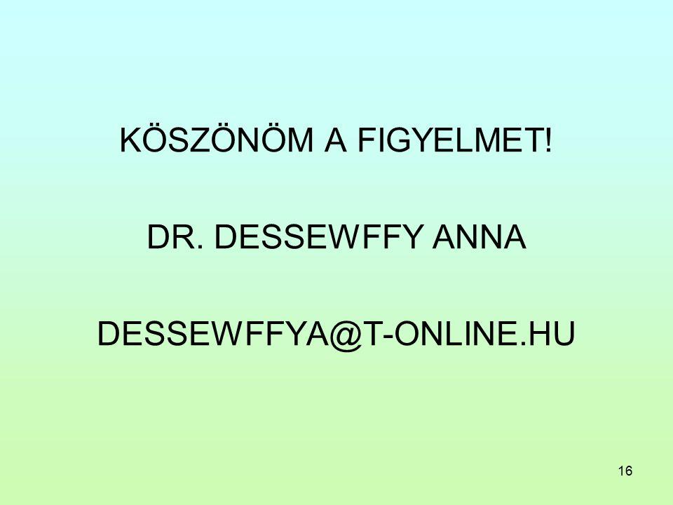 16 KÖSZÖNÖM A FIGYELMET! DR. DESSEWFFY ANNA DESSEWFFYA@T-ONLINE.HU