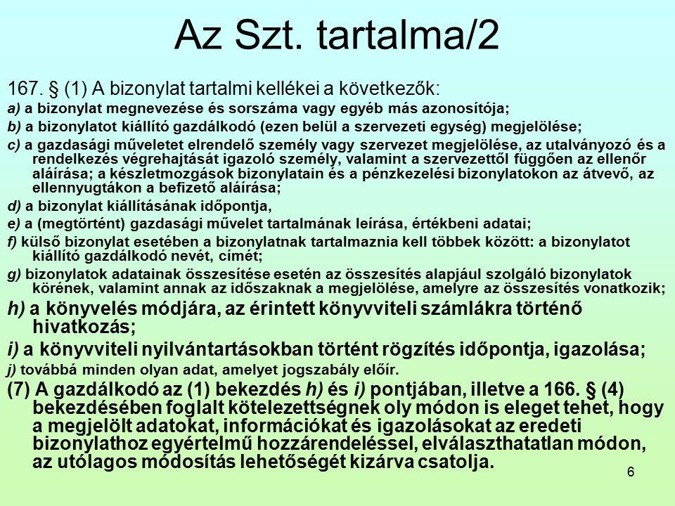 6 Az Szt. tartalma/2 167.