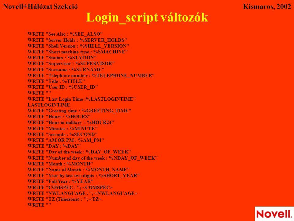 Novell+Hálózat SzekcióKismaros, 2002 WRITE