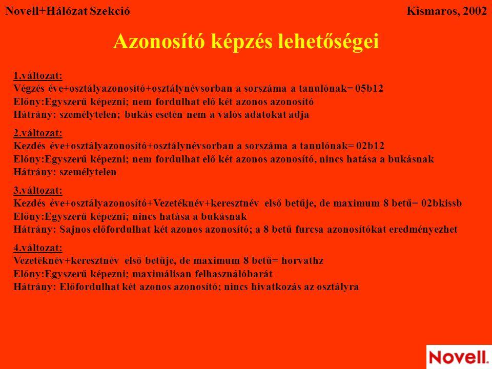 Novell+Hálózat SzekcióKismaros, 2002 Azonosító képzés lehetőségei 1.változat: Végzés éve+osztályazonosító+osztálynévsorban a sorszáma a tanulónak= 05b