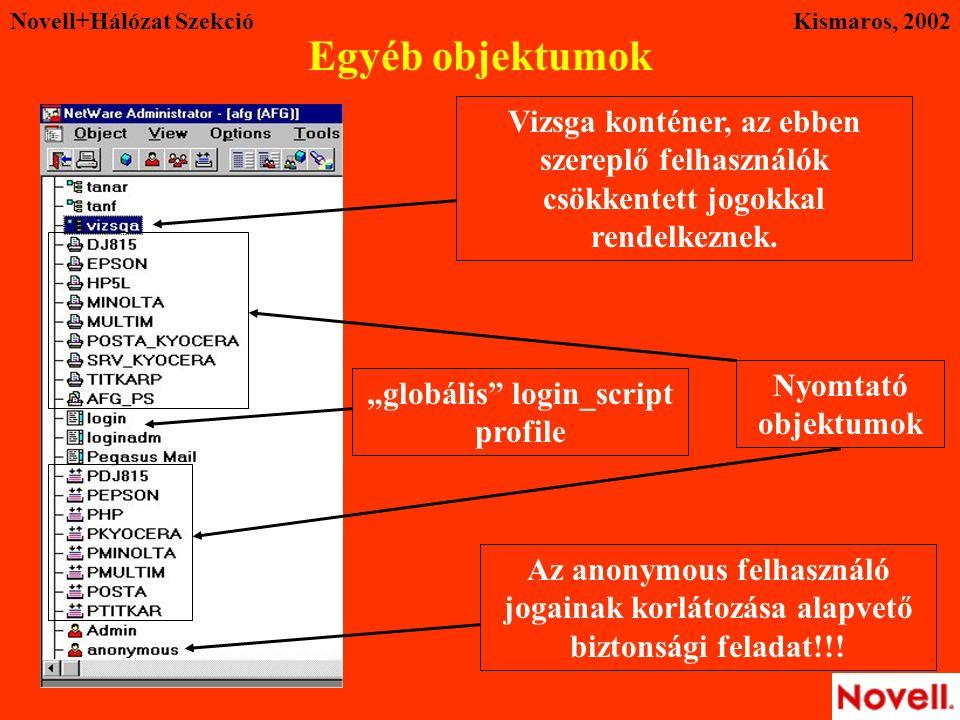 """Novell+Hálózat SzekcióKismaros, 2002 Egyéb objektumok Vizsga konténer, az ebben szereplő felhasználók csökkentett jogokkal rendelkeznek. """"globális"""" lo"""